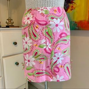 Lilly Pulitzer skirt pink floral paisley Cheery-O